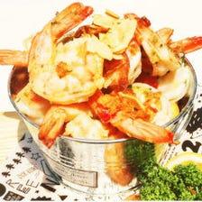 【3時間飲み放題】チーズフォンデュ食べ放題付 大海老バケツガーリックシュリンプ ¥3800(税込み)