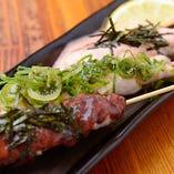 明太子・ネギ塩・梅肉、味の違いをお楽しみください「ささみ3色焼き」