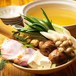 地鶏ガラスープ仕立ての定番人気「塩ちゃんこ鍋」
