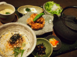 お好み特製茶漬けと岩手阿部鶏塩麹唐揚げ~九条ネギソース~定食