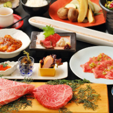 飛騨牛を刺身と焼肉で楽しめて、食べ応え満点【炭火焼コース 家康-IEYASU-】〈全12品〉