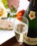 前菜盛合せはイタリアのシャンパン スプマンテで乾杯!