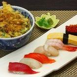 寿司・かき揚げ丼セット
