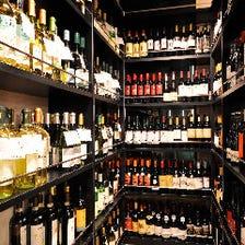 ワインのラインアップは100種類以上