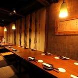 【貸切個室】壁と扉で仕切られた掘ごたつの完全個室は最大30名様