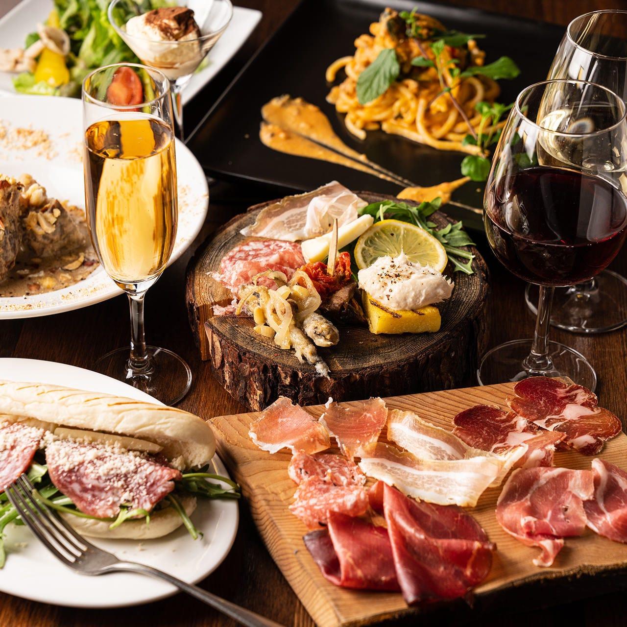 前菜、パスタ、デザートまで内容充実の料理が自慢!飲み放題付き『イタリアン女子会コース』全7品