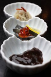自家製の鮭珍味三点盛り。その他珍味、干物も自家製です。