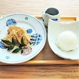 わらび餅と塩キャラメルアイス