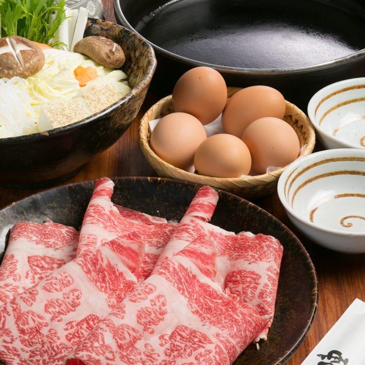 【贅沢三昧】A4黒毛和牛を食べ飲み放題『 プレミアムすき焼き食べ放題2時間飲み放題コース』|