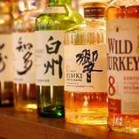 響・白州・知多などウイスキーも種類豊富に取り揃えております