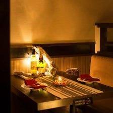 暖色が包む個室と創作和食宴会