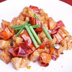 揚げ鶏肉の山椒唐辛子の炒め