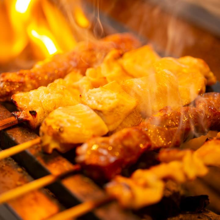 備長炭で仕上げる松阪豚のもつ焼き串