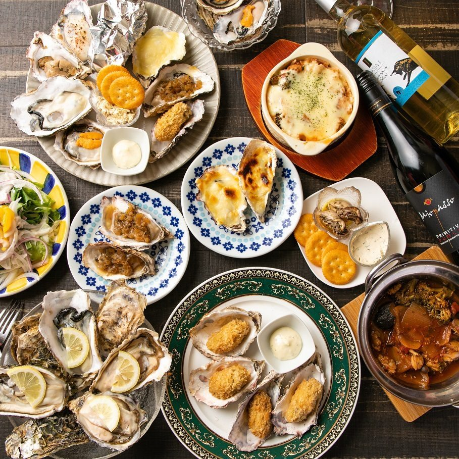 【1日3組限定】当店人気NO1!生牡蠣付き10種の牡蠣料理食べ放題(2時間)コース全5品⇒4980円