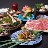 お昼の季節懐石は、月ごとに旬の食材をふんだんに盛り込んでご用意しております