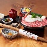 福岡県産自然薯のすき焼御膳。お肉の脂とわりしたが、自然薯と抜群の相性