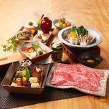 メインをすき焼 又は しゃぶしゃぶからお選びいただける、ランチ限定の「柿安御膳」