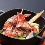 【静岡県産金目鯛アラと香味野菜の吟醸蒸し 】贅沢素材金目鯛をご堪能◎脂ののった金目鯛を吟醸酒と生姜の香味で仕上げた逸品です。