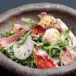 【和歌山県】赤からし水菜と蓮根のシーザーサラダ