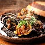 旬貝の陶板焼き《緋扇貝,マテ貝,大貝》