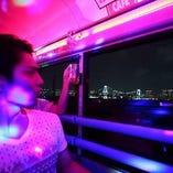 パーティーバスの中からレインボーブリッジを眺めるプランも