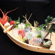 伊勢・鯛など活魚を盛り込む究極船盛