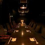 カーテンで区切る各種テーブル繋げて15名様までの宴会に最適