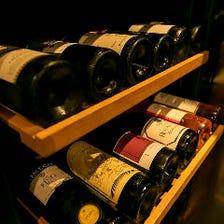ワインを豊富にご用意しております。お好みのワインをお申し付けください
