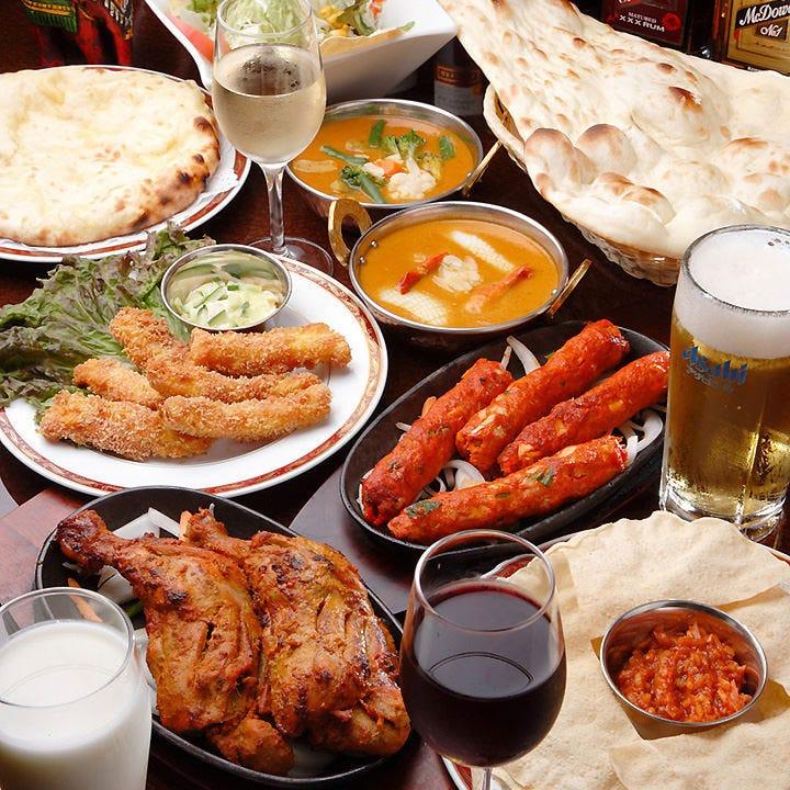 本格インド料理をとことん堪能 大人気の120分食べ飲み放題!