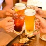 生ビールをはじめ酎ハイや焼酎など多彩なドリンクを取り揃え♪