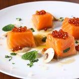 Roaseted Smoked Salmon with Ikura
