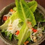 フレッシュ野菜のサラダ/シーザーサラダ~温泉卵添え~