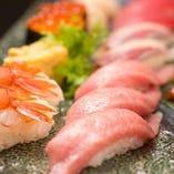 【鮪大トロ希少部位!脳天の大トロ&ほほ肉の食べ比べ寿司盛り合わせ】付き!!