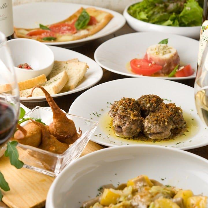 イタリアの郷土料理が堪能できる貸切コースは4,000円~8,000円