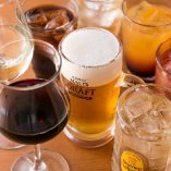 ビール、ハイボール、カクテル、ワインが楽しめる通常飲み放題と、焼酎やウイスキーも楽しめるプレミアム飲み放題がございます。