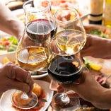 飲み放題では、赤1種、白1種をボトルでお出しします。たくさん飲んでたくさん召し上がってください。