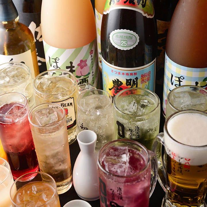 飲み放題はコースに追加料金で 品数2倍のプレミアムに変更可能