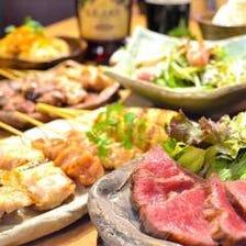 【税込み4,000円】神戸牛の味わえる贅沢コース!神戸牛のたたき、名物焼き鳥等を満喫!