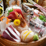 その日のおいしい新鮮魚介7点を色よく形よく並べる「刺身桶盛」