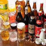 食べ放題やコース料理には、生ビールなどの飲み放題メニュー付