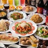 大エビのチリソース煮やホタテのイカ炒めなど人気の中華料理を集めた「大エビのチリソース、ホタテとイカの炒めを味わえる・楽コース」