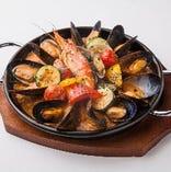 魚介のパエリア風リゾット  オマール海老のスープ