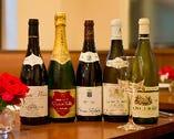 ワインは、フランス産が約30種揃っており、シャンパンもある。