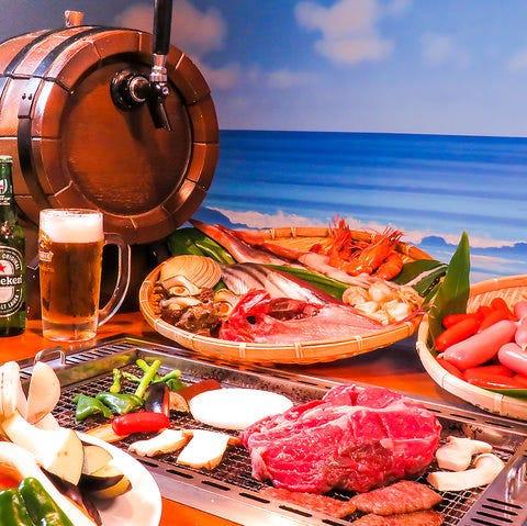 2時間飲み放題付き!お肉もお魚も楽しめる★おまかせバーベキューコース4,400円(税込)♪