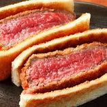 ランプ肉の牛カツサンドは、恵比寿店限定のオリジナルメニュー!