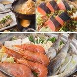 【コース】海老と道産氷下魚の海鮮鍋コース〈全8品〉スタンダード2時間飲み放題付き 4,500円(税込)