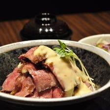 ローストビーフ丼と海鮮丼