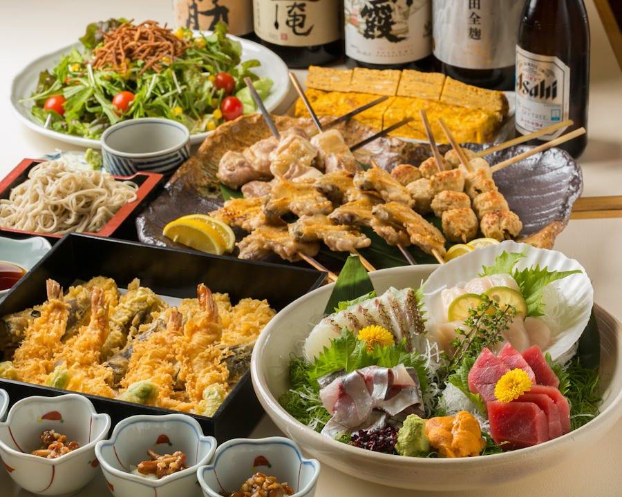宴会コースはそばや天ぷらなどの料理に飲み放題付5,000円~