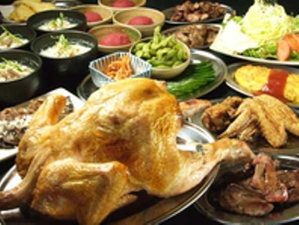 産直若鶏の焼き物のコース。