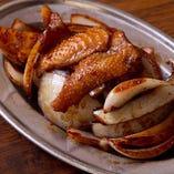 鶏皮と玉ちゃん焼き